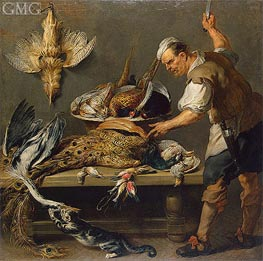 Cook at a Kitchen Table with Dead Game on it | Frans Snyders | Painting Reproduction
