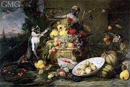 Three Monkeys Stealing Fruit, 1640 by Frans Snyders | Painting Reproduction