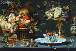 Still Life with Fruit, Wan-Li Porcelain, and Squirrel, 1616 by Frans Snyders | Painting Reproduction