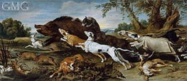 Boar Hunt, c.1625/30 by Frans Snyders | Painting Reproduction