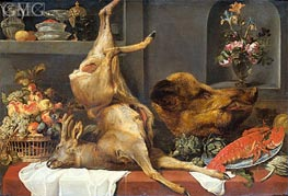 Still Life with a Large Dead Game, Fruit and Flowers, 1657 by Frans Snyders | Painting Reproduction
