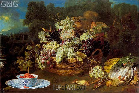 Frans Snyders | Basket of Fruit in a Landscape with Squirrel, c.1650/60