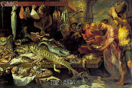 Fish Market (with Figures by van Dyck), c.1618/20 | Frans Snyders | Painting Reproduction