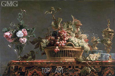 Grapes in a Basket and Roses in a Vase,  | Frans Snyders | Gemälde Reproduktion