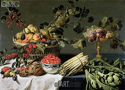 Still Life of Fruit in a Wicker Basket,  | Frans Snyders | Painting Reproduction