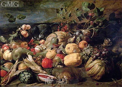 Still Life of Fruits and Vegetables, 1620 | Frans Snyders | Gemälde Reproduktion