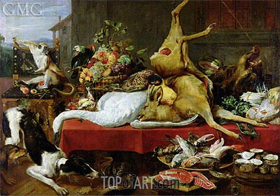 Still Life with a Red Deer, 1640 | Frans Snyders | Gemälde Reproduktion