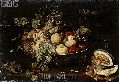 Frans Snyders | Fruit in a Bowl and a Sliced Melon, c.1650