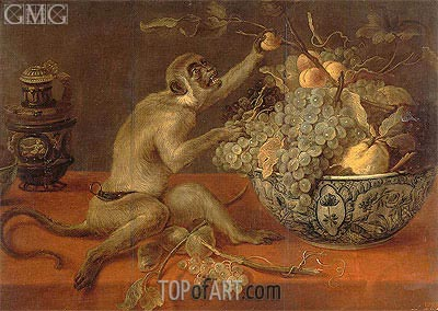 Still Life with a Monkey,  | Frans Snyders | Painting Reproduction
