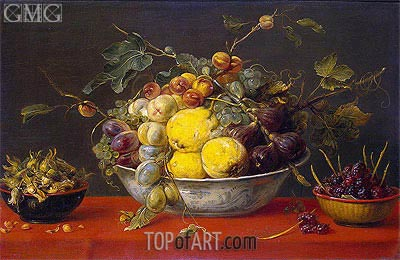 Frans Snyders | Fruit in a Bowl on a Red Cloth, c.1640