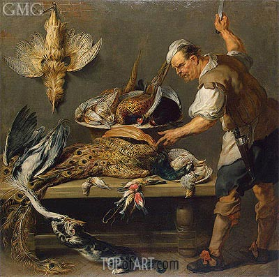 Frans Snyders | Cook at a Kitchen Table with Dead Game on it, c.1634/37