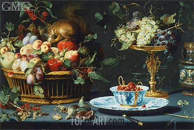 Still Life with Fruit, Wan-Li Porcelain, and Squirrel, 1616 | Frans Snyders | Gemälde Reproduktion
