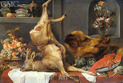 Frans Snyders | Still Life with a Large Dead Game, Fruit and Flowers, 1657