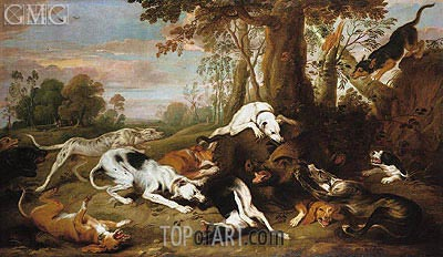 A Boar Hunt, 1653 | Frans Snyders | Painting Reproduction