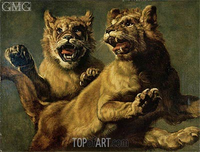 Two Young Lions Jumping,  | Frans Snyders | Painting Reproduction