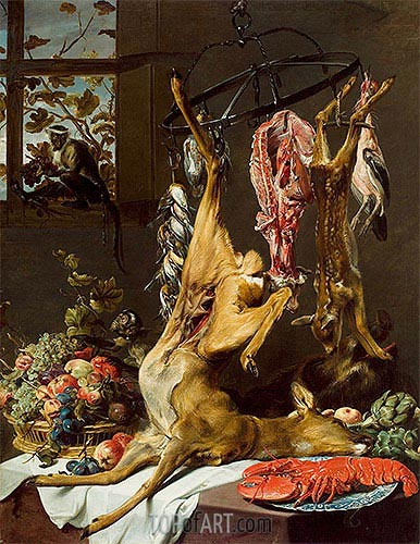 Frans Snyders | Still Life with Game Suspended on Hooks with Lobster and Two Monkeys, c.1640/50