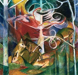 Deer in the Forest I, 1913 by Franz Marc | Painting Reproduction