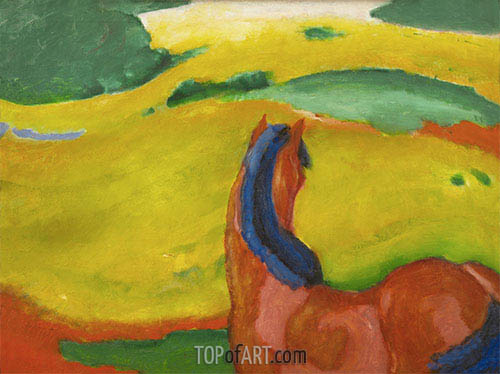 Horse in a Landscape, 1910 | Franz Marc| Painting Reproduction