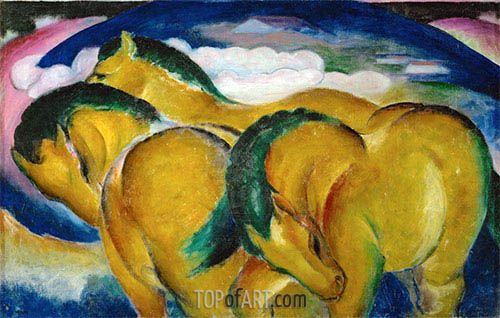 The Small Yellow Horses, 1912 | Franz Marc | Painting Reproduction