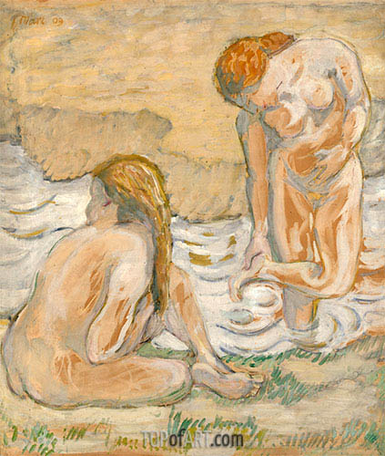 Franz Marc | Two Bathing Women (Act Composition II), 1909