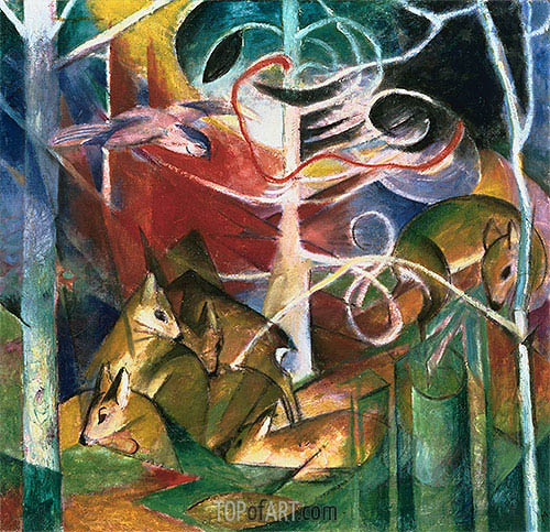 Franz Marc | Deer in the Forest I, 1913