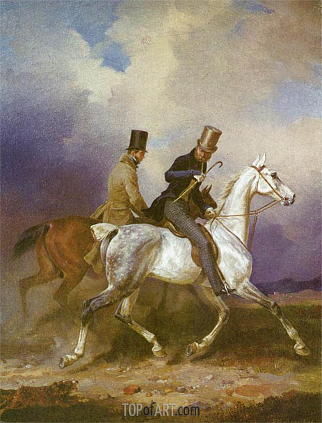Outing of Prince William of Prussia on Horseback, 1836 | Franz Kruger | Painting Reproduction