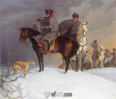 Franz Kruger | Prussian Cavalry Outpost in the Snow, 1821