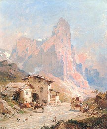 Figures in a Village in the Dolomites, 1887 von Unterberger | Gemälde-Reproduktion