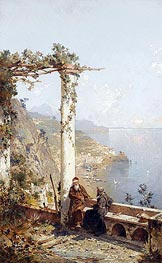 Capuchin Monks from the Monastery in Amalfi above the Bay of Naples | Unterberger | Painting Reproduction