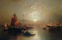 Shipping on the Lagoon, Venice at Sunset | Unterberger | Painting Reproduction