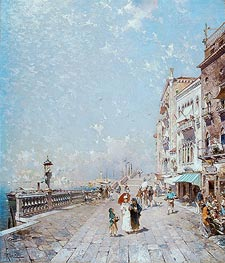 The Molo, Venice, Looking West with Figures Promenading | Unterberger | Painting Reproduction