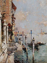 Venice, View of a Canal across the Grand Canal towards the Church of San Giorgio | Unterberger | Painting Reproduction