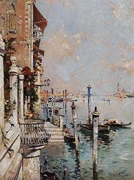 Venedig, Blick von einem Kanal über den Canal Grande hin zur Kirche San Giorgio | Unterberger | Gemälde Reproduktion