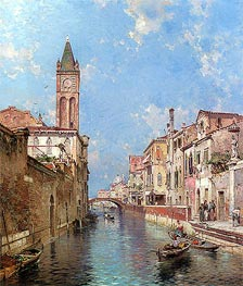 Rio Santa Barnaba, Venice, undated by Unterberger | Painting Reproduction