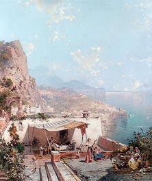 Amalfi, the Gulf of Salerno, undated by Unterberger | Painting Reproduction