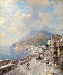 Gulf of Salerno, Amalfi, undated by Unterberger | Painting Reproduction
