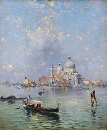 Gondolas in front of the Santa Maria della Salute, Venice, undated by Unterberger | Painting Reproduction