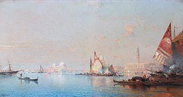 A View across the Lagoon towards the Grand Canal, c.1880/82 by Unterberger | Painting Reproduction