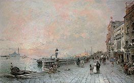 The Riva dei sette Martiri, looking towards the Ponte de la Veneta Marina, Venice | Unterberger | Painting Reproduction