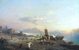 Fisherfolk on the Shore, Vesuvius beyond, 1869 by Unterberger | Painting Reproduction