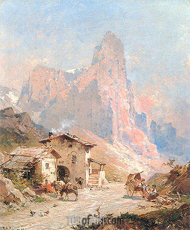 Figures in a Village in the Dolomites, 1887 | Unterberger | Painting Reproduction