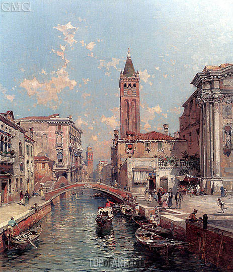 Rio Santa Barnaba, Venice, undated | Unterberger | Painting Reproduction