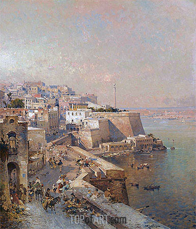 Manderaggio in La Valletta, Malta, undated | Unterberger | Painting Reproduction