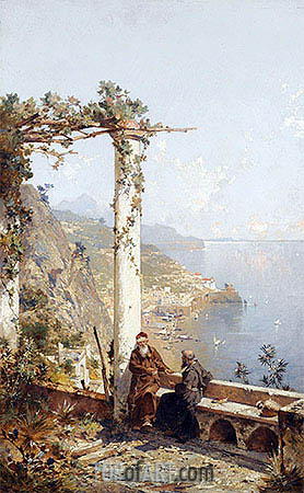 Capuchin Monks from the Monastery in Amalfi above the Bay of Naples, undated | Unterberger | Painting Reproduction