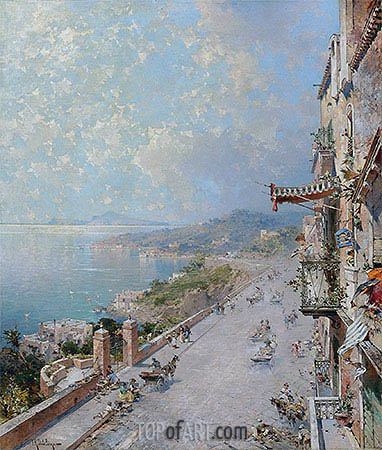 View of Posilipo, near Naples, undated | Unterberger | Painting Reproduction