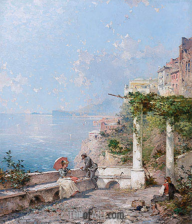 Sorrento, on the Bay of Naples, undated | Unterberger | Gemälde Reproduktion