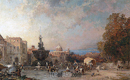 A Market in Naples, undated | Unterberger| Painting Reproduction