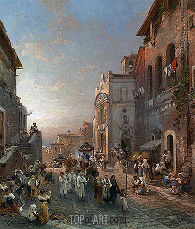 Religious Procession in Italian City, undated | Unterberger| Painting Reproduction