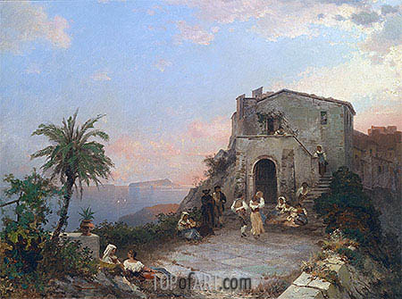 Summer Festival in Italy, 1902 | Unterberger| Painting Reproduction