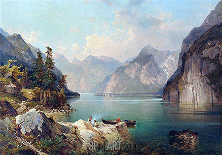 Resting in Alps, c.1876/77 | Unterberger| Painting Reproduction